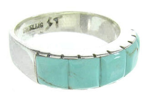 Southwestern Silver Turquoise Inlay Ring Size 8-1/4 CW63628