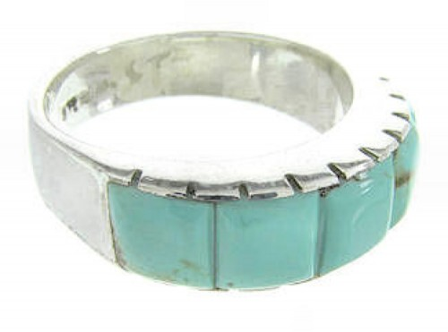 Turquoise And Sterling Silver Southwestern Ring Size 6-1/4 CW70379