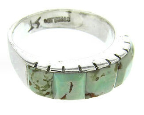 Silver Turquoise Inlay Southwestern Ring Size 6-3/4 CW63645