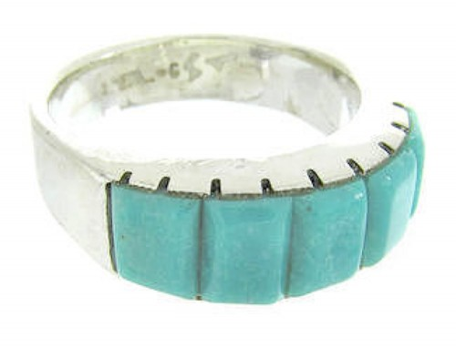 Turquoise Inlay And Southwest Silver Ring Size 5-1/2 CW70383