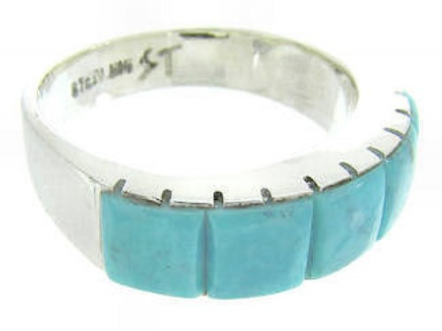 Turquoise Inlay And Genuine Sterling Silver Ring Size 8-1/4 CW63689