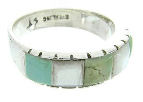 Sterling Silver Mother Of Pearl Turquoise Ring Size 7-1/2 AW63618