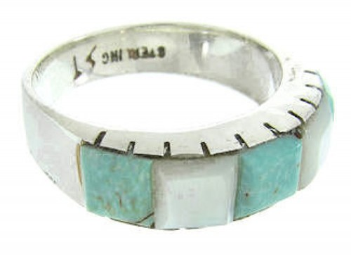 Southwest Turquoise And Mother Of Pearl Inlay Ring Size 7 AW63647