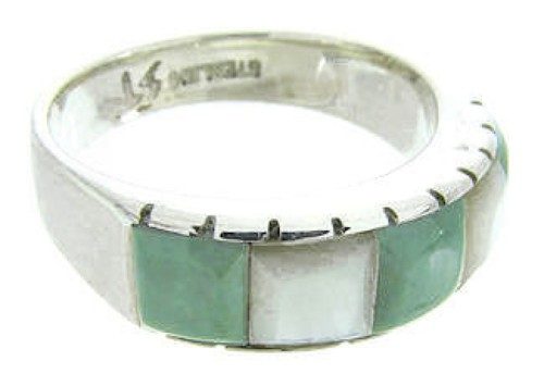 Mother Of Pearl Turquoise Southwest Ring Size 6-3/4 AW63678