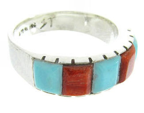 Turquoise Apple Coral Silver Southwest Ring Size 8-1/4 AW63723