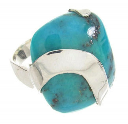 Southwest Silver And Turquoise Ring Jewelry Size 5-1/2 IS61260