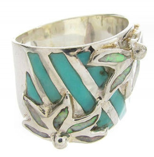 Opal Silver And Turquoise Ring Southwest Jewelry Size 4-3/4 IS60609