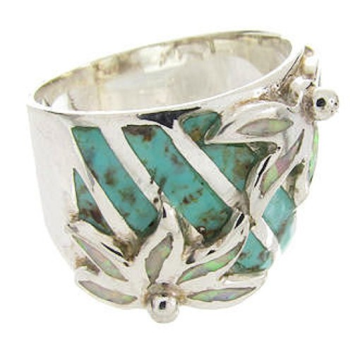 Sterling Silver Turquoise Opal Flower Ring Size 4-1/2 IS60620