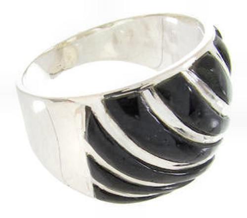 Southwest Silver And Onyx Jewelry Ring Size 6 YS61581