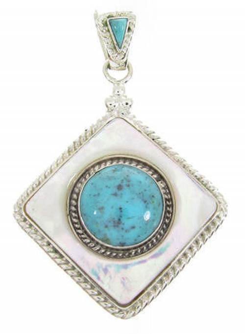 Turquoise Mother of Pearl and Silver Slide Pendant YS60809