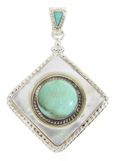 Mother of Pearl Turquoise and Sterling Silver Pendant YS60828