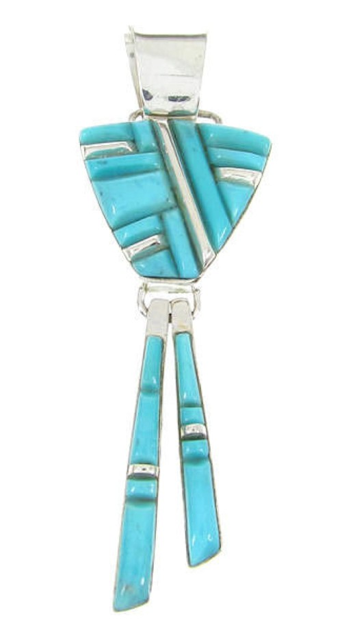 Silver and Turquoise Southwest Dangle Jewelry Pendant YS60742