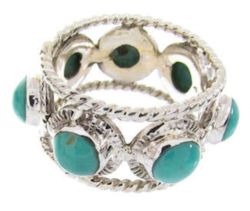 Southwest Turquoise Sterling Silver Ring Size 6-1/4 PS61383