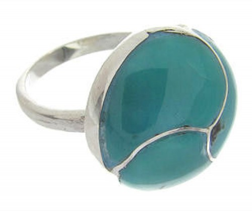 Turquoise And Silver Southwest Jewelry Ring Size 4-3/4 YS63390