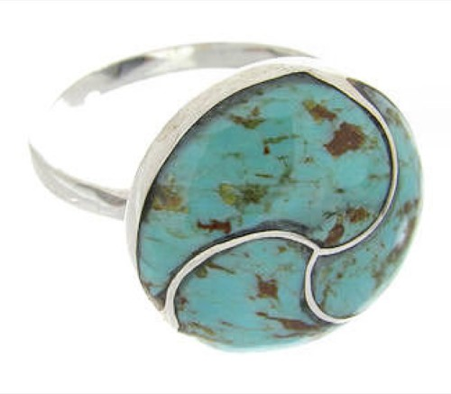 Southwestern Turquoise Inlay Silver Ring Size 7-1/2 YS63539