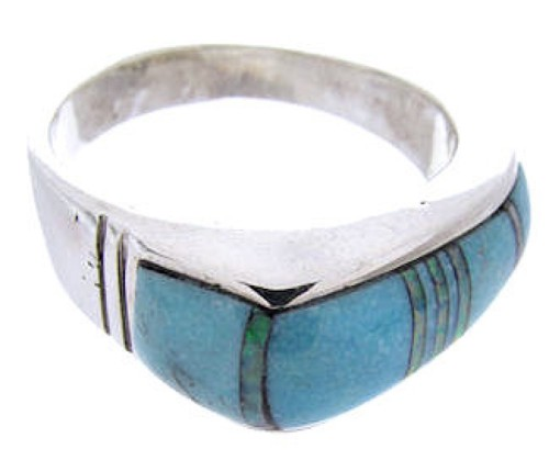 Silver Opal And Turquoise Ring Size Jewelry 7-1/4 NS39099