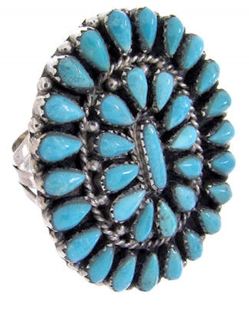 Turquoise Sterling Silver Jewelry Ring Size 6-3/4 AW64533