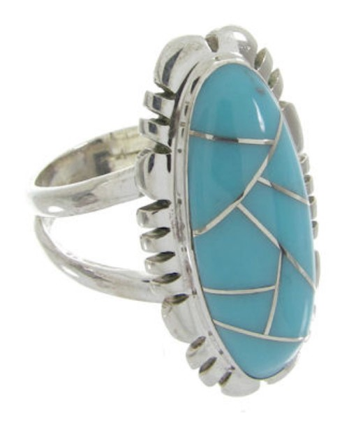 Turquoise Inlay And Sterling Silver Southwest Ring Size 5-1/4 IS61647