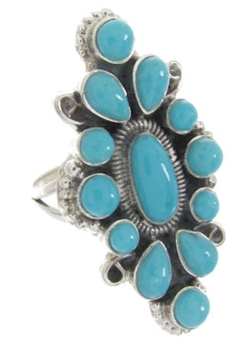 Silver Southwest Turquoise Ring Jewelry Size 5-1/4 IS61725