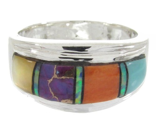 Siilver Southwestern Multicolor Inlay Ring Size 5-3/4 MW64523