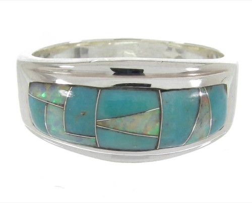 Opal Southwest Turquoise Silver Ring Size 5-3/4 MW64465