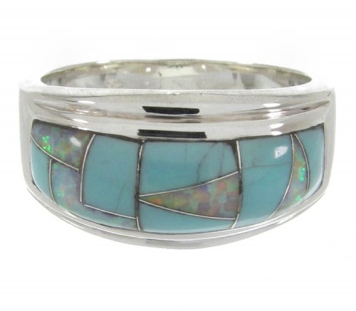 Opal Southwest Turquoise Silver Jewelry Ring Size 7-3/4 MW64466