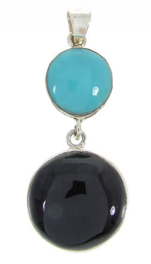 Turquoise And Jet Sterling Silver Pendant BW62400
