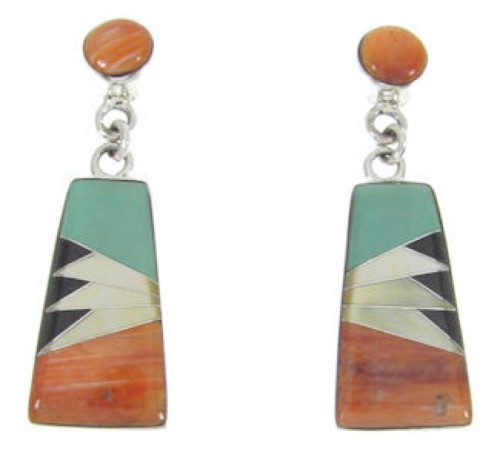 Multicolor Inlay Sterling Silver Post Dangle Earrings FS62346