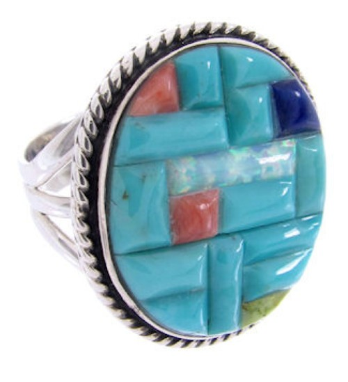Sterling Silver Jewelry Turquoise Multicolor Ring Size 7-3/4 AW68923
