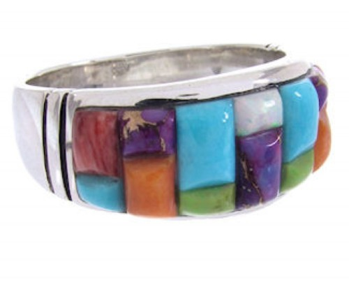Southwest Multicolor Sterling Silver Jewelry Ring Size 9-1/2 AW68893