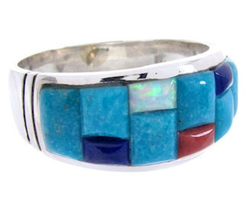 Multicolor And Sterling Silver Inlay Jewelry Ring Size 9-1/2 AW68891