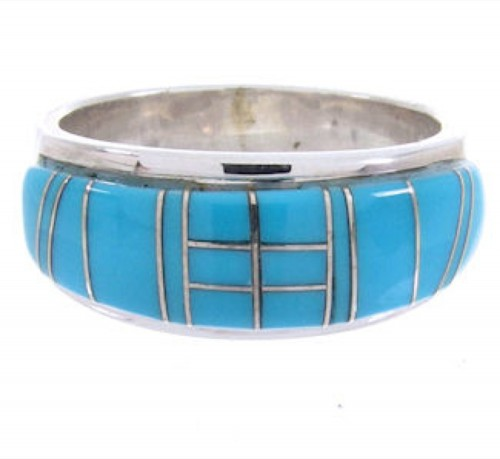 Turquoise Genuine Sterling Silver Inlay Ring Size 5-3/4 BW69536