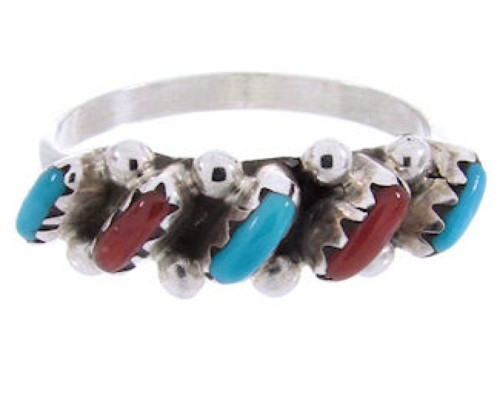 Turquoise And Coral Native American Sterling Silver Needlepoint Ring Size 6-1/2 AX71698