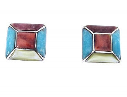 Turquoise And Multicolor Sterling Silver Post Earrings JW63182