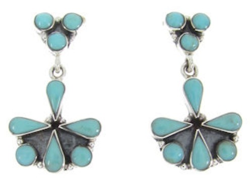 Southwestern Genuine Sterling Silver Turquoise Earrings BW62567
