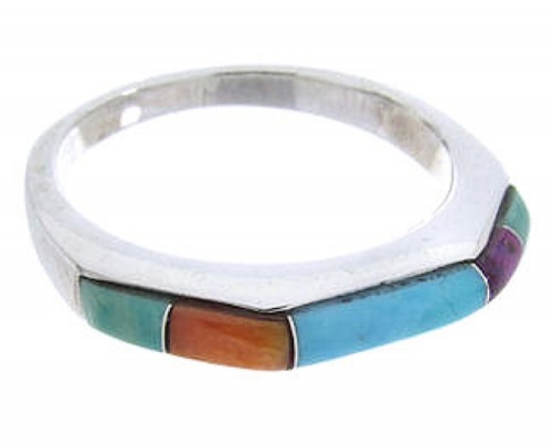Sterling Silver Turquoise Multicolor Inlay Ring Size 6-3/4 RS41702