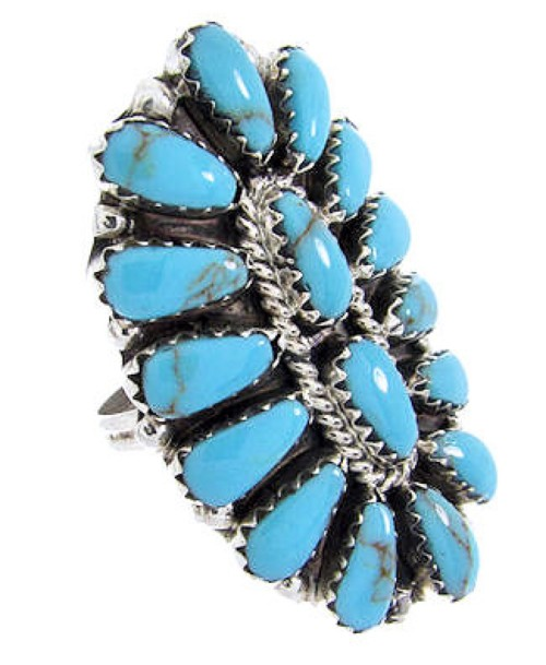 Silver Native American Navajo Ring Turquoise Size 6-3/4 MX23206