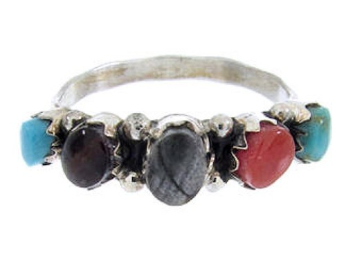 Zuni Indian Ring Sterling Silver Multicolor Jewelry Size 5-1/4 JW63508