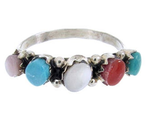 Multicolor Zuni Indian Sterling Silver Ring Size 6-1/2 Jewelry JW63516