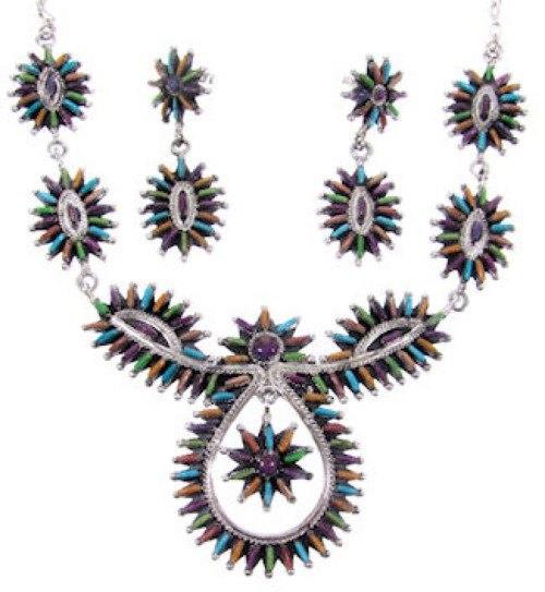 Sterling Silver Jewelry Multicolor Link Necklace Earrings Set MW67007