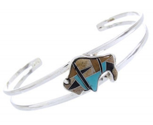 Sterling Turquoise Multicolor Silver Buffalo Cuff Bracelet CW64744