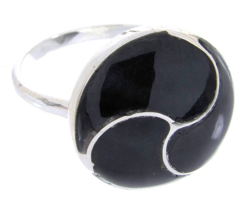 Jet Silver Southwest Jewelry Ring Size 8-1/2 YS63355