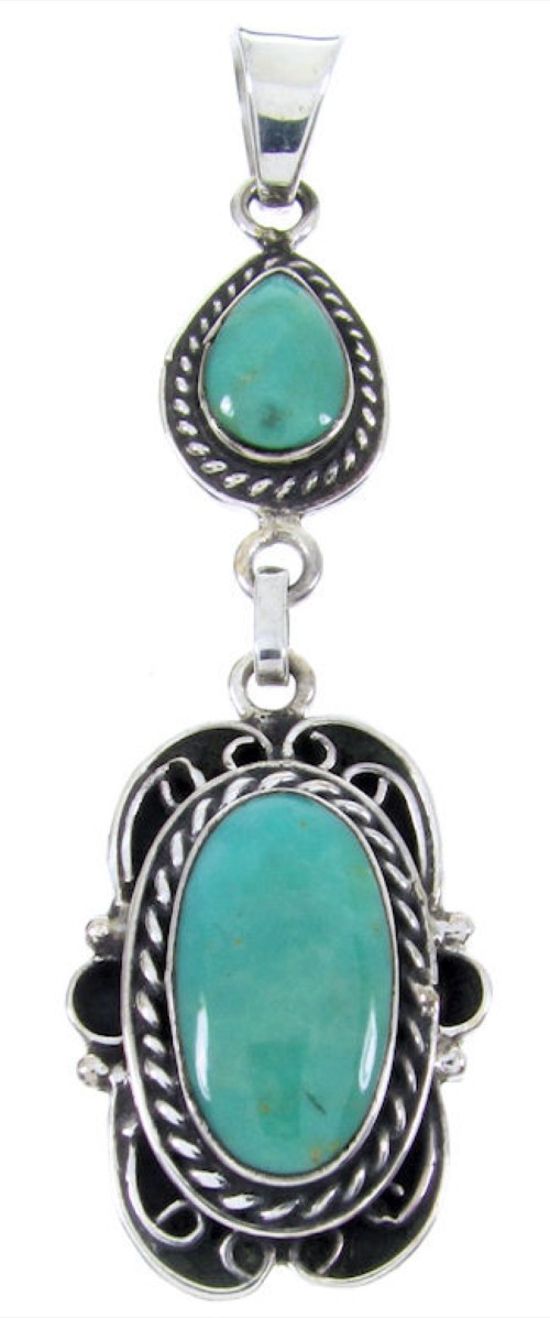 Southwestern Sterling Silver Turquoise Pendant JW65992
