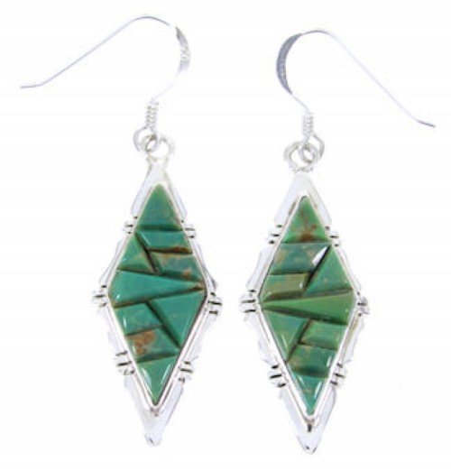 Turquoise And Sterling Silver Hook Earrings Jewelry JW66470