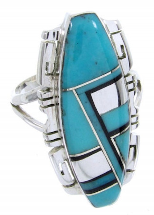 Sterling Silver Southwest Turquoise Jet Inlay Ring Size 5-3/4 BW66747