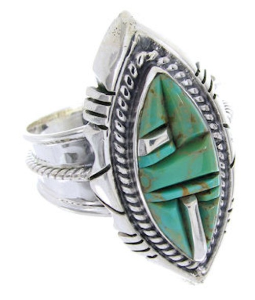 Sterling Silver And Turquoise Inlay Jewelry Ring Size 8-3/4 BW66783
