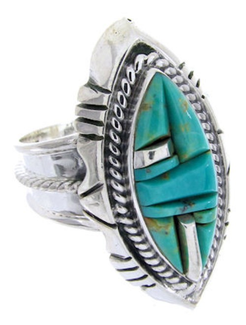Sterling Silver Turquoise Inlay Ring Size 5-3/4 BW66790