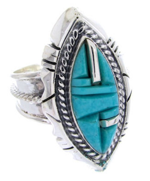 Turquoise Inlay Southwest Silver Jewelry Ring Size 6-1/2 BW66994