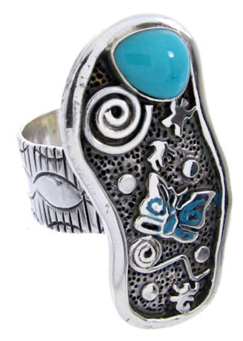 Butterfly Turquoise Jewelry Silver Southwestern Ring Size 8 MW66864
