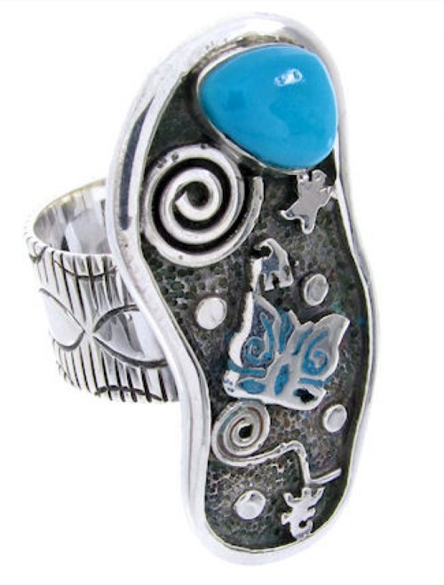 Turquoise Butterfly Silver Southwestern Ring Size 5-3/4 MW66873